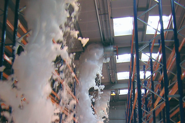 warehouse flood of firefighting foam