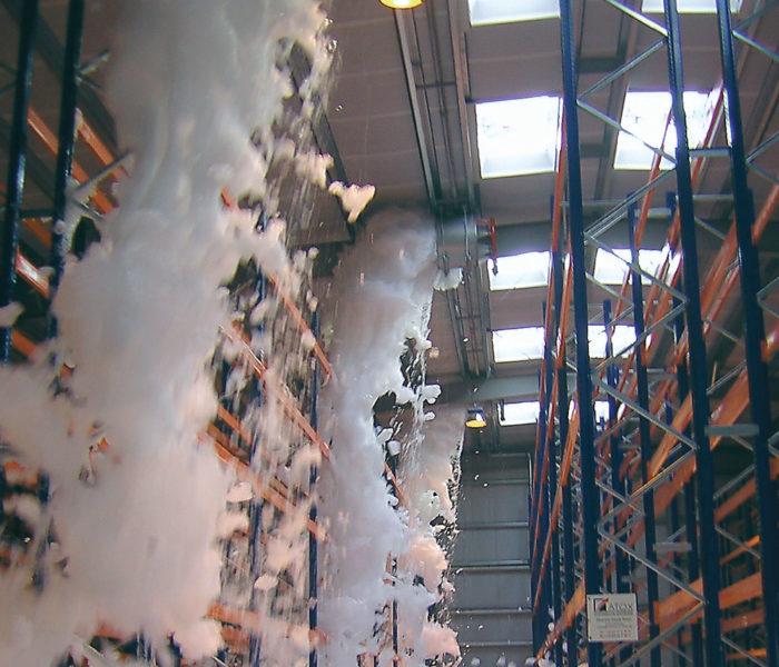 warehouse flood of firefighting foam