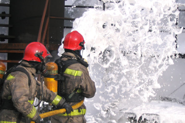 firefighting foam training exercise