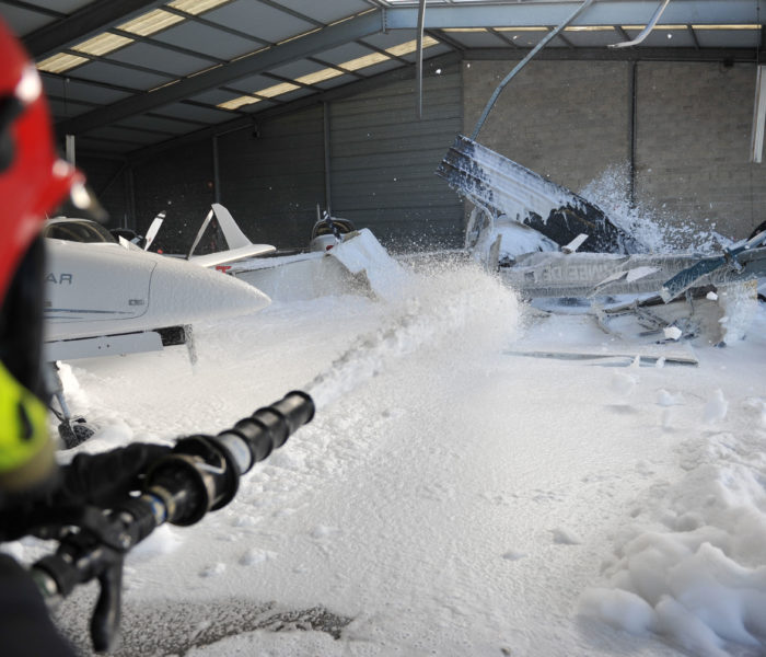 foam application on helicopter fire